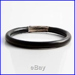 Antique Vintage Art Deco Sterling Silver Chinese Rattan Wood Bangle Bracelet