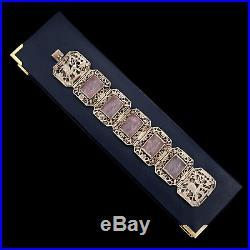 Antique Vintage Art Deco Sterling Silver Chinese Rose Quartz Filigree Bracelet