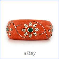 Antique Vintage Art Deco Sterling Silver Mughal Bakelite Lucite Emerald Bracelet