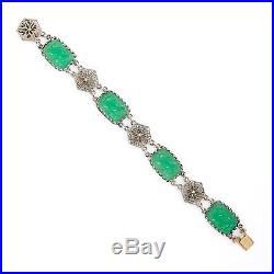 Antique Vintage Art Deco Sterling Silver Peking Glass Hummingbird Link Bracelet