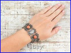 Antique Vintage Art Deco Sterling Silver Plated Hamsa Coral Chain Bracelet 26.1g