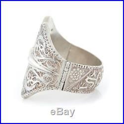 Antique Vintage Art Deco Sterling Silver Turkish Ottoman Hinged Bangle Bracelet
