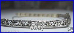 Antique Vintage Diamond Bracelet Platinum 14K Yellow Gold 71/4 Art Deco EGL USA