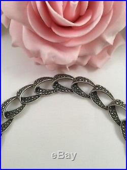 Antique Vintage Jewelry Sterling Silver Bracelet Marcasites Art Deco Jewellery