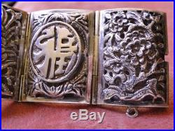 Antique Vtg CHINESE STERLING 3/D Puffy HANDMADE Art Deco SILVER EXPORT BRACELET