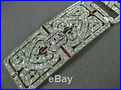 Antique Wide 13.40ct Diamond Aaa Ruby Platinum 3d Art Deco Multi Heart Bracelet