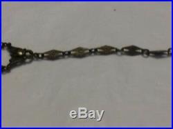 Antique art deco sterling silver marcasite & camphor glass bracelet 6.5 D