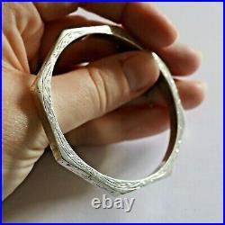 Antique c1930s Octagon Sterling Silver Bangle Bracelet Vintage Art Deco