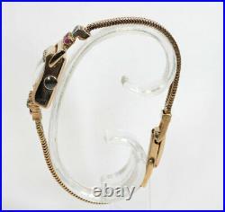 Antique estate. 90CT diamond ruby Art Deco watch 14K rose gold bracelet 19.6GM