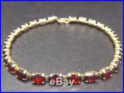 Armband Armkette 333 GOLD bracelet Granat garnet grenat pulsera or oro Art Deco