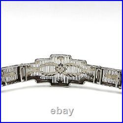 Art Deco 10K White Gold Filigree Diamond Bracelet 11.2 Grams
