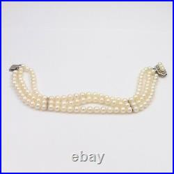 Art Deco 14K White Gold Triple Strand 5mm Akoya Pearl Bracelet