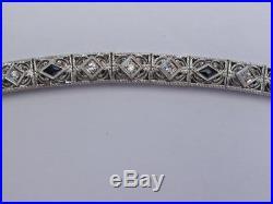 Art Deco 14 Kt White Gold Diamond & Sapphire Filigree Bracelet-14.5 gram