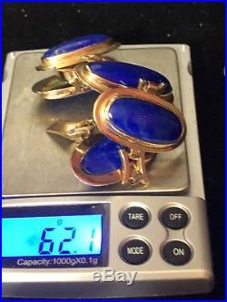 Art Deco 14k Rose Gold Lapis Handmade Bracelet Ring Necklace Pendant Set 88.3g