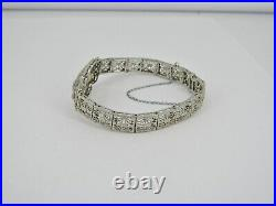 Art Deco 14k White Gold 6.25.33tcw Diamond & Sapphire Bracelet 12.23 Grams