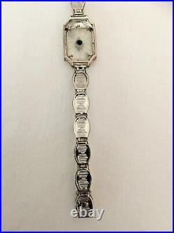 Art Deco 14k White Gold Diamond Camphor Glass Filigree Bracelet