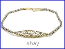 Art Deco 18K Gold and Platinum with Diamonds Bracelet