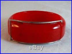 Art Deco 1920's Cherry Red Bakelite Bangle Bracelet Tested