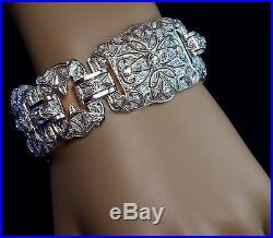 Art Deco 1920s Vintage Wide Platinum Diamond Bracelet