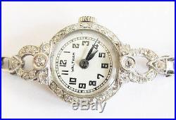 Art Deco 1940's Ladies Waltham Platinum Diamond & 14K Gold Bracelet Wrist Watch