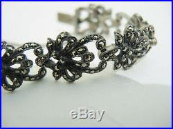 Art Deco 1940's Sterling Silver Marcasite Bow Bracelet