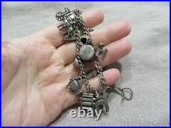 Art Deco 30's Sterling silver Lot of 2 Charms Curb Bracelets with 35 Charms 7 L
