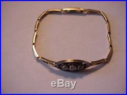 Art Deco 585 14K Yellow & White Gold Diamonds Ladies Bracelet Antique