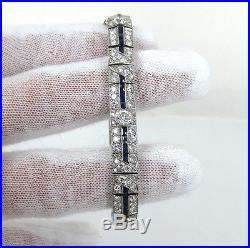 Art Deco 8.0ct Diamond & 2.50ct Sapphire Filigree Decorated Platinum Bracelet