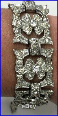 Art Deco ANTIQUE PASTE Sparkly RHINESTONE Ornate Flower LINK BRACELET 7