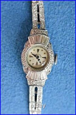 Art Deco Antique Baguette Diamond Bracelet HAMILTON Platinum Women's Wrist Watch