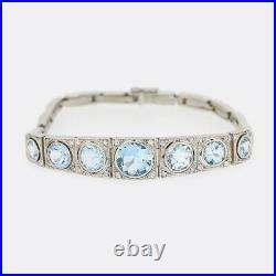 Art Deco Aquamarine and Diamond Bracelet Platinum, 18ct White Gold