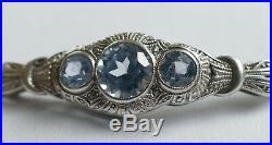 Art Deco Armband 3 blaue Edelsteine Silber Vintage 30er bracelet silver