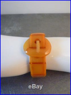 Art Deco Armband Bakelit Butterscotch Bernstein Gürtel bracelet amber 30er 40er