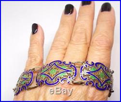 Art Deco Art Nouveau Bracelet Sterling Blue Green Enamel Portugal Excellent Cond