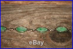 Art Deco Bracelet 9.3g Vintage 14K & Chinese Green Carved Jade 7 1/8
