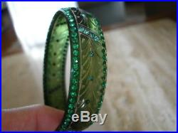 Art Deco Carved Celluloid Rhinestone Sparkle Bangle Bracelet- Wow