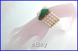 Art Deco Carved Natural Jadeite Jade Cultured Pearl 14K Gold 1.5 Wide Bracelet