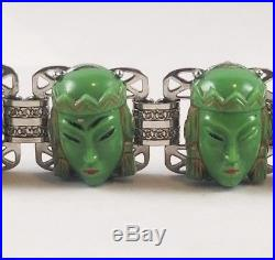 Art Deco Chinese Egyptian Revival Green Molded Glass Faces Rhodium Bracelet