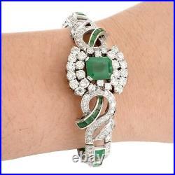Art Deco Diamond, Emerald and White Gold Bracelet