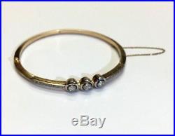 Art Deco Diamond Platinum and 18K Yellow Gold Bangle Bracelet