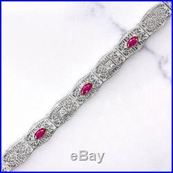 Art Deco Diamond Ruby Filigree Tennis Bracelet 14k White Gold Vintage Antique