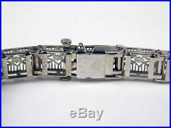 Art Deco Diamond & Synthetic Sapphire Filigree Bracelet 10 kt Gold 6 7/8 #A3259