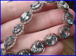 Art Deco Edwardian 9ct White Gold Fine Blue Zircon 27ct Bracelet