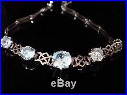Art Deco Edwardian 9ct White Gold Fine Blue Zircon 6ct Bracelet