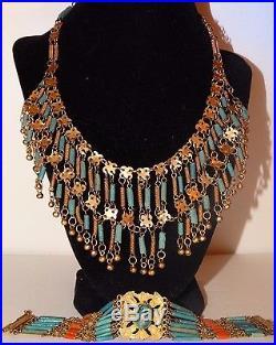 Art Deco Egyptian Revival Brass & Turquoise Coral Faience Bib Necklace Bracelet
