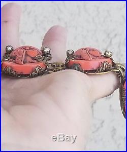 Art Deco Egyptian Revival Miriam Haskell Molded Glass Orange Pharoah Bracelet