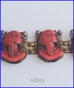 Art Deco Egyptian Revival Miriam Haskell Molded Orange Pharaoh Bracelet