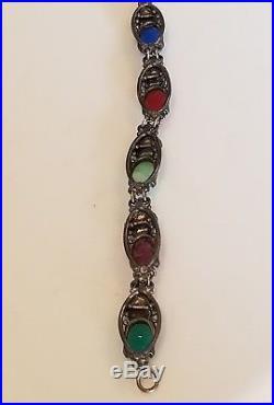 Art Deco Egyptian Revival Sterling Silver 925 Carved Amethyst Scarab Bracelet