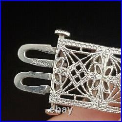 Art Deco Era Diamond 14k White Gold Filigree Bracelet 1920-30s 7.25 Vintage Gift