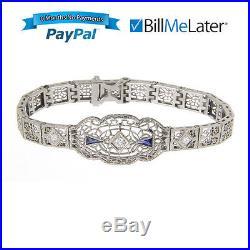Art Deco Filigree 14 Kt White Gold Diamond & Synthetic Sapphire Bracelet
